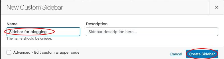 name your sidebar